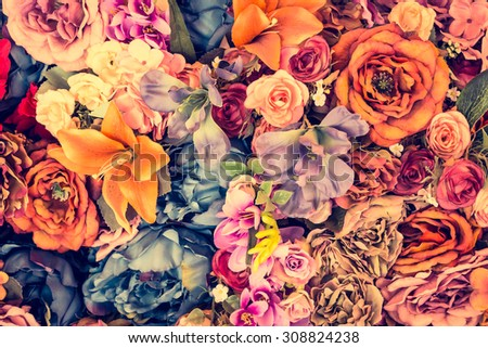Beautiful Vintage flower background - vintage filter effect