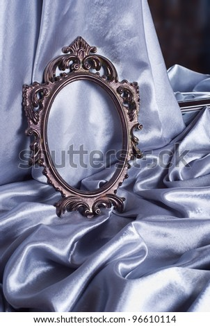 Beautiful vintage frame is a silver silk