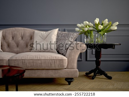 Beautiful vintage sofa next to wall. 3d rendering #255722218