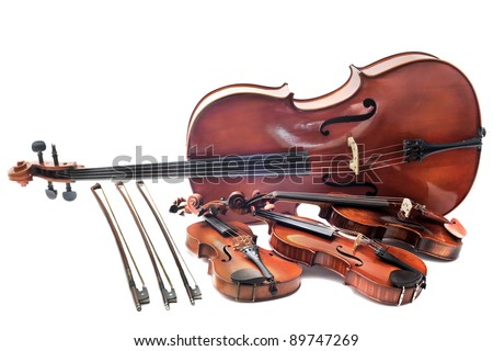 beautiful violins isolated on a white background and cello