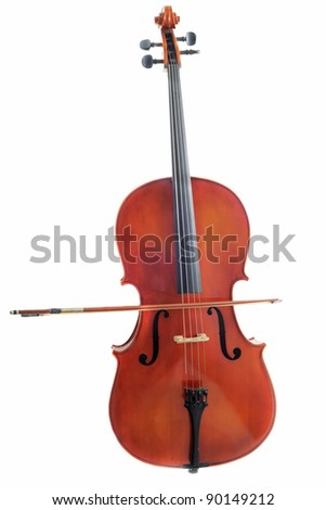beautiful violoncello isolated on a white background