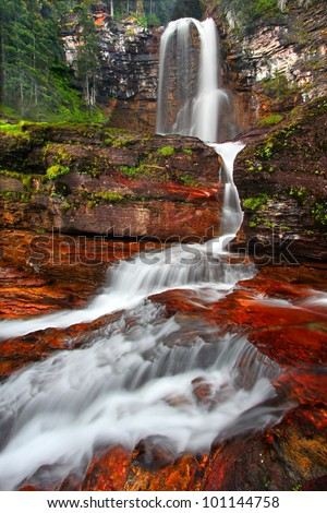 Beautiful Virginia Falls in the forests of Glacier National Park in northern Montana