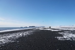Beautiful volcanic black sand beach on the south cost of Iceland.