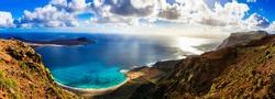 beautiful volcanic island Lanzarote - panoramic view from Mirador del rio. Canary islands