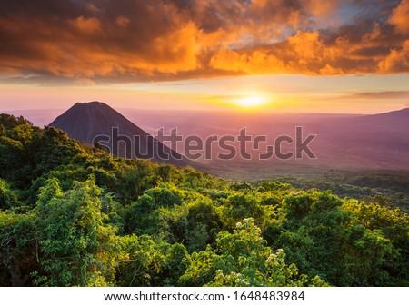 Beautiful volcano in Cerro Verde National Park in El Salvador at sunset Stok fotoğraf ©