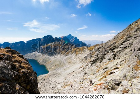 Beautiful Vysne Wahlenbergovo pleso, Krivan in Furkotska dolina view from Bystre sedlo - in slovakian high Tatra mountains. Summer panorama with great weather and blue sky #1044282070