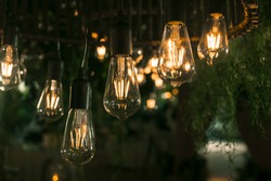 Beautiful warm incandescent led string light used as part of ceiling decor at a wedding reception. Shallow focus area. Background image.