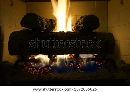Beautiful warming vibrant fire with lively flame #1572855025