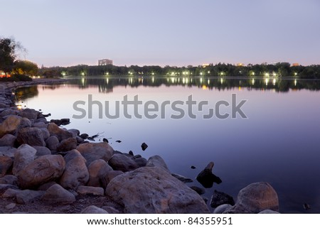 beautiful Wascana lake on a quiet summer night