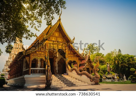 Beautiful Wat Chedi Liam (Temple of the Squared Pagoda), the only ancient temple in the Wiang Kum Kam archaeological area that remains a working temple with resident monks at Chiang Mai, Thailand. Stok fotoğraf ©