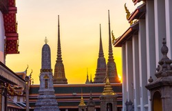 Beautiful Wat Pho Temple  at sunset in Bangkok, Thailand.