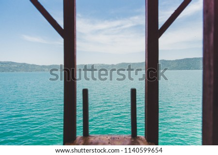 Beautiful water and piersi at Coatepeque Lake in El Salvador Zdjęcia stock ©