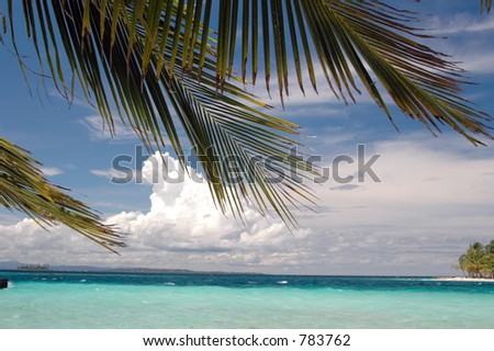 beautiful water blue sky with palm tree  Caribbean Sea in San Blas Kuna Indian island Panama