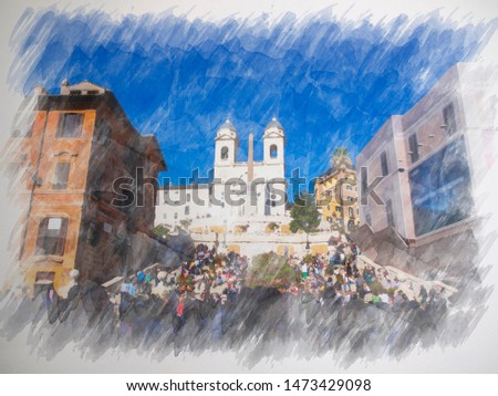 Beautiful water color painting of Spanish Steps, Obelisco Sallustiano on Spanish Steps Square with tourists.