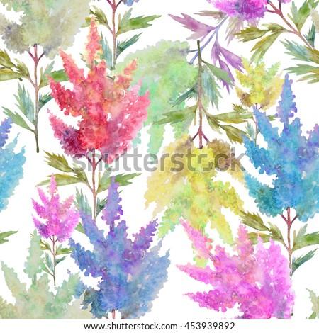 Beautiful watercolor astilbe flowers seamless pattern.