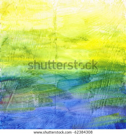 Beautiful watercolor background in soft green, blue and yellow- Great for textures and backgrounds for your projects! - stock photo