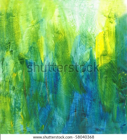 Beautiful watercolor background in soft green, yellow and blue- Great for textures and backgrounds for your projects! - stock photo