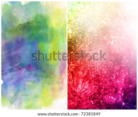 Beautiful watercolor background in soft magenta, yellow and green- Great for textures and backgrounds for your projects!