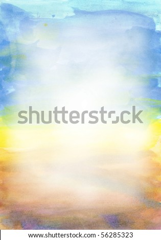 Beautiful watercolor background in soft white, yellow and blue- Great for textures and backgrounds for your projects!