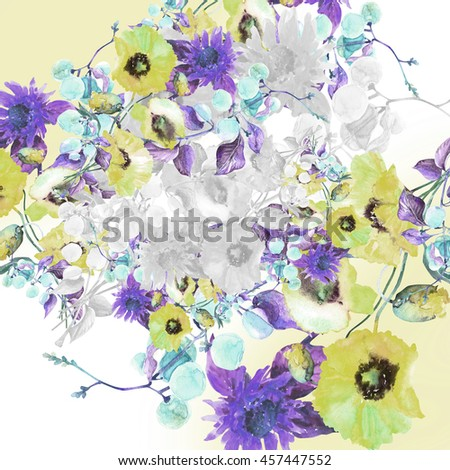 Beautiful  watercolor bouquet of bright summer flowers with a sprig of  berries Garland , isolated on white background.