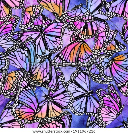Beautiful watercolor butterflies on galaxy background. Hand drawn butterfly shapes seamless pattern. Watercolor insects illustration for wallpaper, textile, fabric design