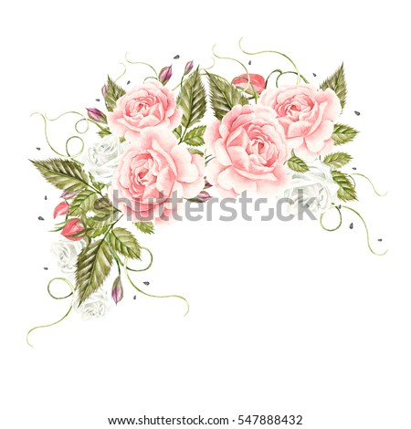 Beautiful watercolor card with roses flower and berries. Wedding wreath. Illustration