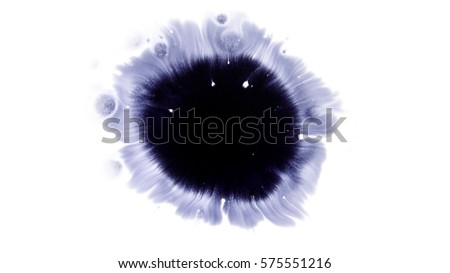 Beautiful watercolor ink drops on white paper, paint bleed Bloom, with black circle organic flow expanding, splatter spreading on clear background. Perfect for motion graphics, digital composition #575551216