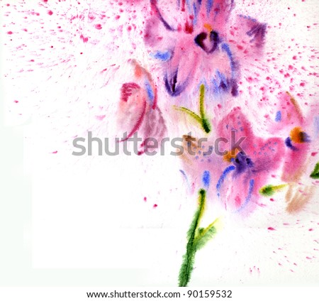 Beautiful watercolor orchid