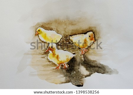 Beautiful watercolor painting, yellow duck and chicken stand together, colorful art, poultry.