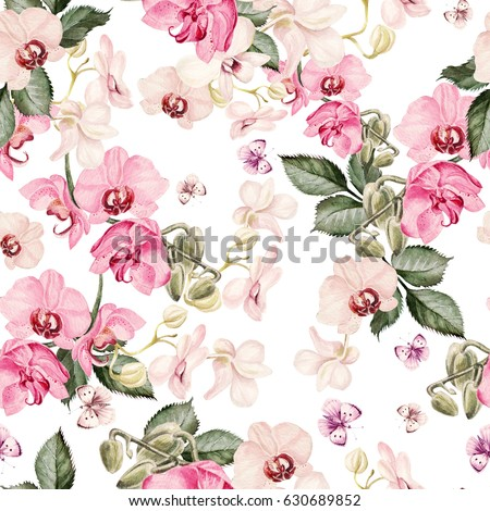 Beautiful watercolor pattern with orchid flowers. Illustration.