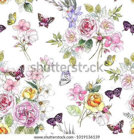 Beautiful watercolor pattern with peony and rose flowers. Pattern with butterflies and pink flowers