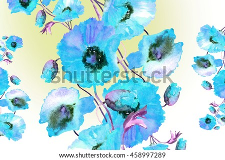 Beautiful Watercolor  Poppies flowers garland, hand painted illustration , isolated on white background.