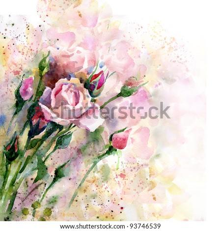Beautiful watercolor rose