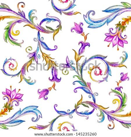 beautiful watercolor seamless...