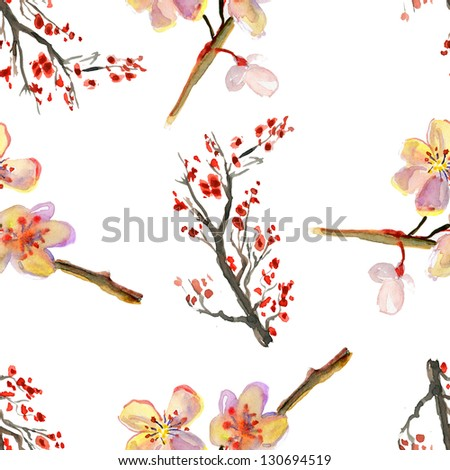 Beautiful watercolor seamless pattern with sakura flowers and lines