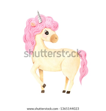 Beautiful watercolor unicorn illustration isolated on white inspired by baby fairytales. Magic trendy pink cartoon horse perfect for nursery print and poster design