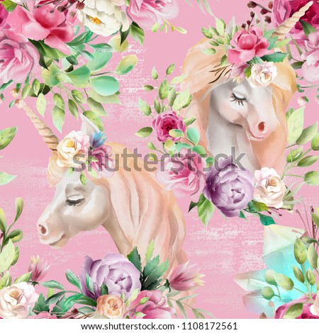 Beautiful watercolor unicorns princess, pegasus with violet and cream peony, pink roses, magic crystals and floral, flowers bouquets on pink background with glitter seamless pattern
