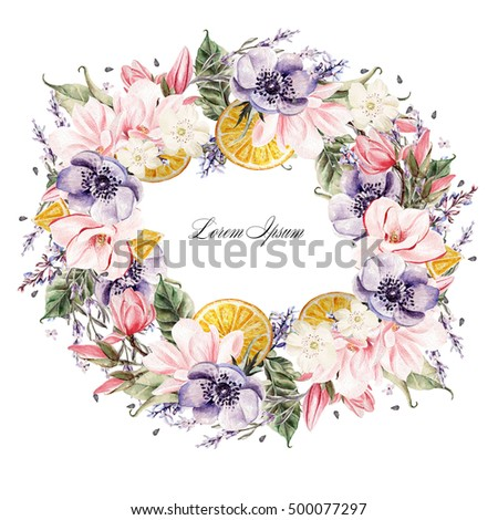 Beautiful watercolor wreath with lavender flowers, anemone, magnolia and orange fruits. Illustrations. #500077297