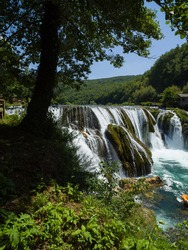 beautiful waterfal with clear wild drinking water strbacki buk in bosnia and herzegovina near city bihac