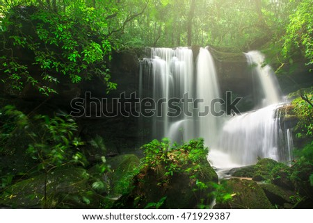Beautiful waterfall in autumn forest, deep forest waterfall at phu tub berk mountain phetchabun,Thailand. (Mun Dang waterfalls)