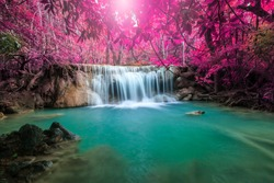 Beautiful waterfall in autumn forest, deep forest waterfall, Kanchanaburi province, Thailand