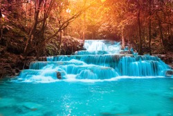 Beautiful waterfall in autumn forest,  Kanchanaburi province, Thailand