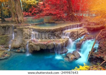 Shutterstock Beautiful waterfall in autumn forest, Kanchanaburi province, Thailand