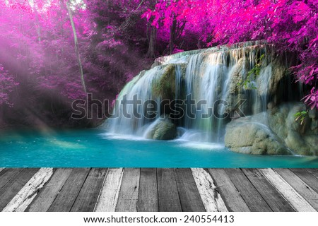 beautiful waterfall in deep...