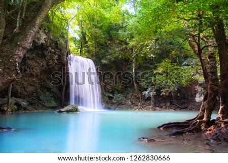 Beautiful Waterfall in deep forest at Erawan waterfall National Park, Kanchanaburi, Thailand