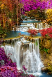 Beautiful waterfall in deep tropical forest