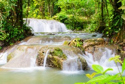 beautiful waterfall in forest, nature