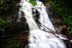Beautiful waterfall in Holcomb creek falls, Georgia