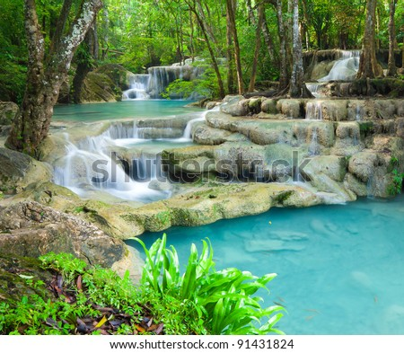 Beautiful waterfall in Kanjanaburi Thailand