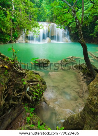 Beautiful waterfall in Kanjanaburi Thailand - stock photo